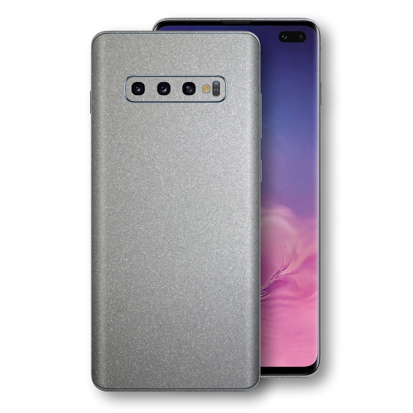 Samsung Galaxy S10+ PLUS Silver Glossy Metallic Skin, Decal, Wrap, Protector, Cover by EasySkinz | EasySkinz.com