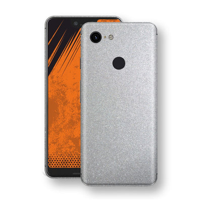 Google Pixel 3 XL Silver Glossy Metallic Skin, Decal, Wrap, Protector, Cover by EasySkinz | EasySkinz.com