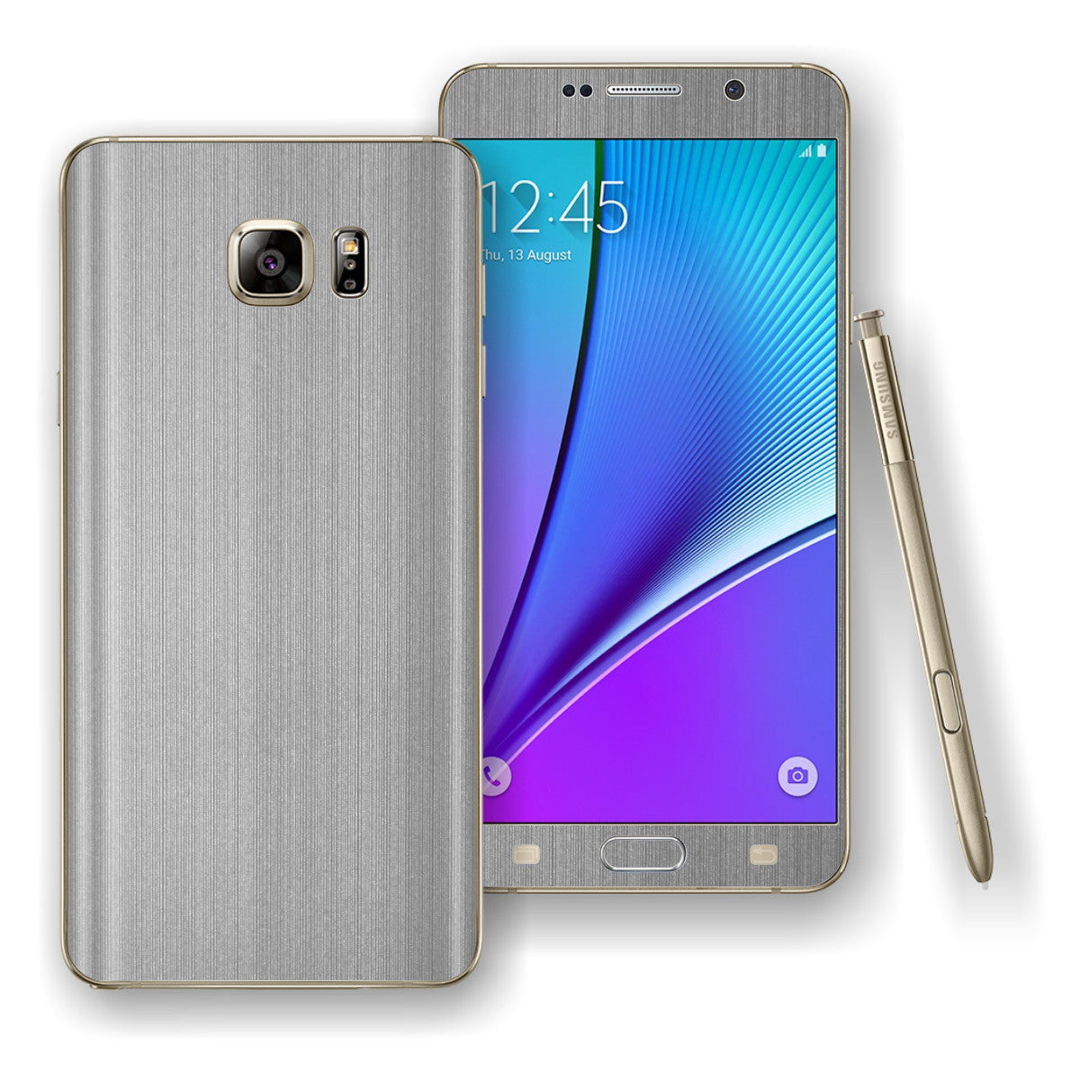 Samsung Galaxy NOTE 5 Premium Brushed Steel Skin Wrap Decal Cover Protector by EasySkinz