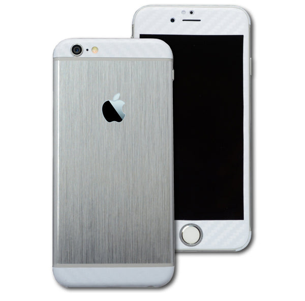 iPhone 6 Plus Brushed SILVER with WHITE Carbon Fibre Skin Wrap Sticker Cover Decal Protector by EasySkinz