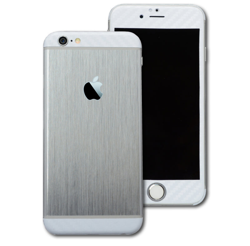 iPhone 6S Brushed SILVER with WHITE Carbon Fibre Skin Wrap Sticker Cover Decal Protector by EasySkinz