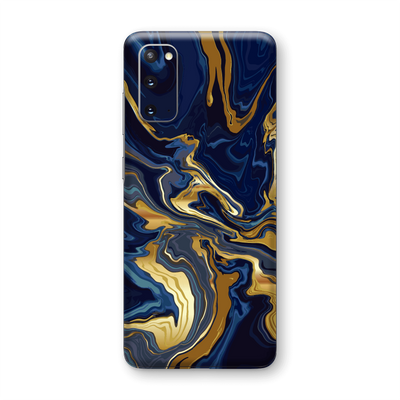Samsung Galaxy S20 Print Printed Custom SIGNATURE Ocean Blue & Gold Luxury Skin Wrap Sticker Decal Cover Protector by EasySkinz