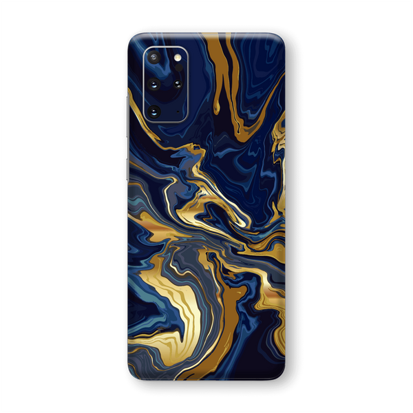 Samsung Galaxy S20+ PLUS SIGNATURE Abstract Liquid Navy-Gold Skin, Wrap, Decal, Protector, Cover by EasySkinz | EasySkinz.com