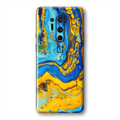 OnePlus 8 PRO SIGNATURE Tuscan Sun Yellow Blue Alcohol Ink Paint Skin, Wrap, Decal, Protector, Cover by EasySkinz | EasySkinz.com