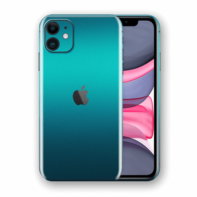 iPhone 11 Atomic Teal Metallic Gloss Finish Skin Wrap Sticker Decal Cover Protector by EasySkinz