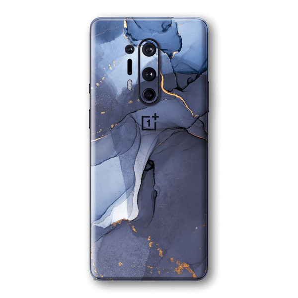 OnePlus 8 PRO SIGNATURE AGATE GEODE Pigeon Blue-Gold Skin, Wrap, Decal, Protector, Cover by EasySkinz | EasySkinz.com
