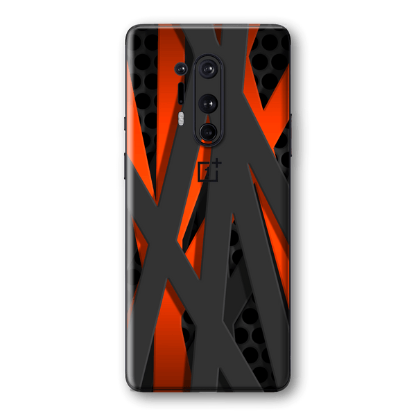 OnePlus 8 PRO Print Custom SIGNATURE Black-Red FIBRE Skin Wrap Decal by EasySkinz