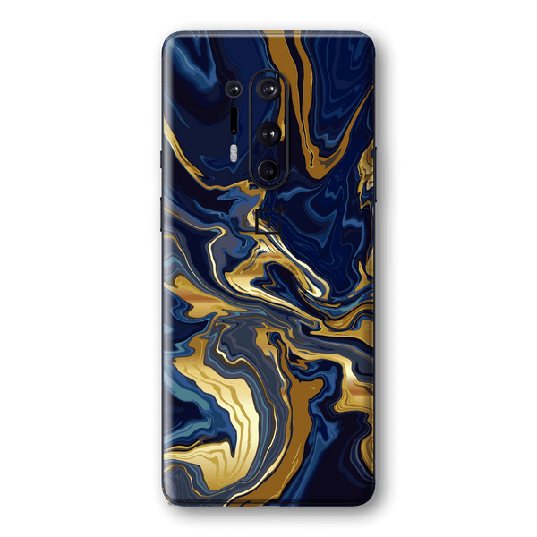 OnePlus 8 PRO Print Printed Custom SIGNATURE Ocean Blue & Gold Luxury Skin Wrap Sticker Decal Cover Protector by EasySkinz