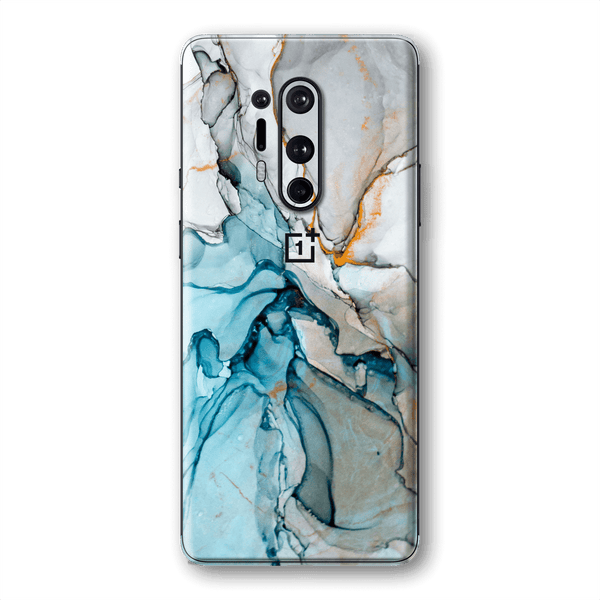OnePlus 8 PRO Print Custom Signature Marble TURQUOISE Skin Wrap Decal by EasySkinz