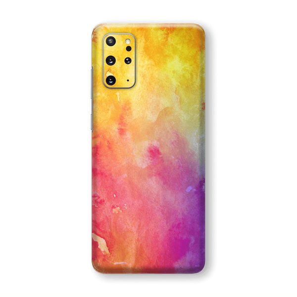 Samsung Galaxy S20+ PLUS Print Custom Signature Abstract Watercolour Yellow/Purple Skin Wrap Decal by EasySkinz