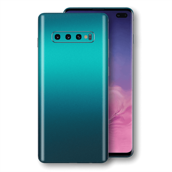 Samsung Galaxy S10+ PLUS Atomic Teal Metallic Gloss Finish Skin Wrap Sticker Decal Cover Protector by EasySkinz