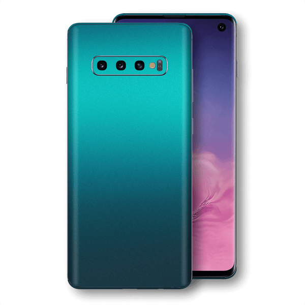 Samsung Galaxy S10 Atomic Teal Metallic Gloss Finish Skin Wrap Sticker Decal Cover Protector by EasySkinz