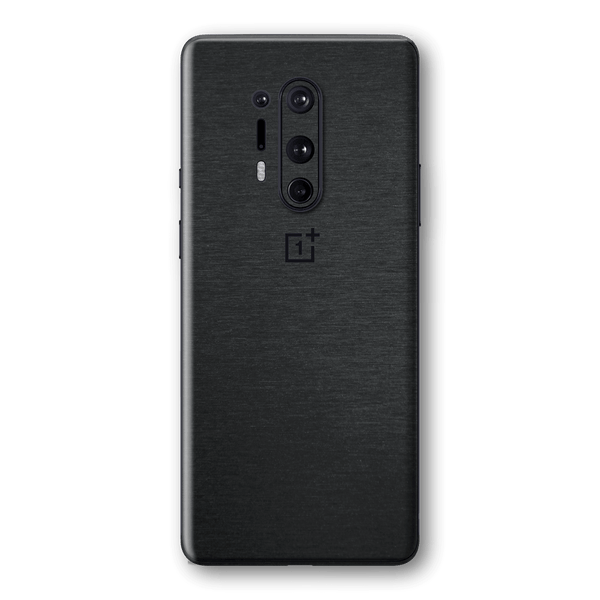 OnePlus 8 PRO Brushed Black Metallic Metal Skin Wrap Sticker Decal Cover Protector by EasySkinz