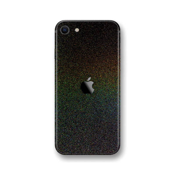 iPhone SE (2020) Glossy GALAXY Black Milky Way Rainbow Sparkling Metallic Skin Wrap Sticker Decal Cover Protector by EasySkinz