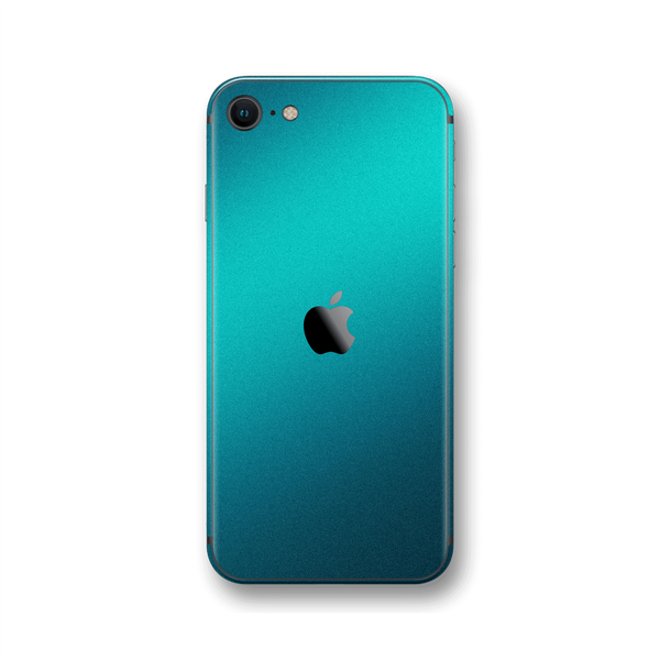 iPhone SE (2020) Atomic Teal Metallic Gloss Finish Skin Wrap Sticker Decal Cover Protector by EasySkinz