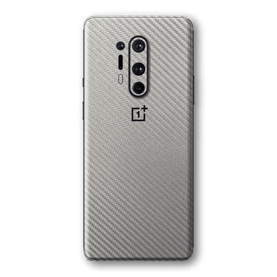 OnePlus 8 PRO 3D Textured Metallic Grey Carbon Fibre Fiber Skin Wrap Sticker Decal Cover Protector by EasySkinz