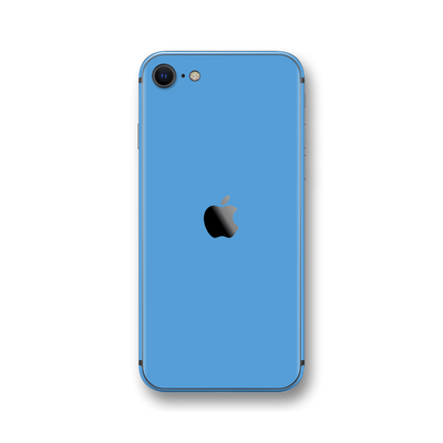 iPhone SE (2020) SKY BLUE Gloss Finish Skin Wrap Sticker Decal Cover Protector by EasySkinz