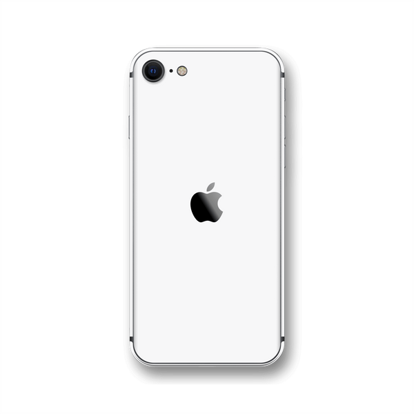 iPhone SE (2020) White Glossy Gloss Finish Skin Wrap Sticker Decal Cover Protector by EasySkinz
