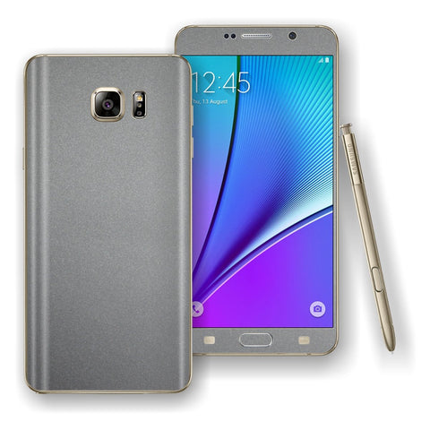 Samsung Galaxy NOTE 5 Space Grey Matt Metallic Skin Wrap Decal Cover Protector by EasySkinz