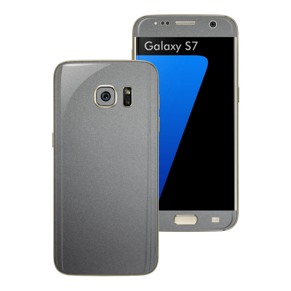 Samsung Galaxy S7 Space Grey Matt Matte Metallic Skin Wrap Decal Sticker Cover Protector by EasySkinz