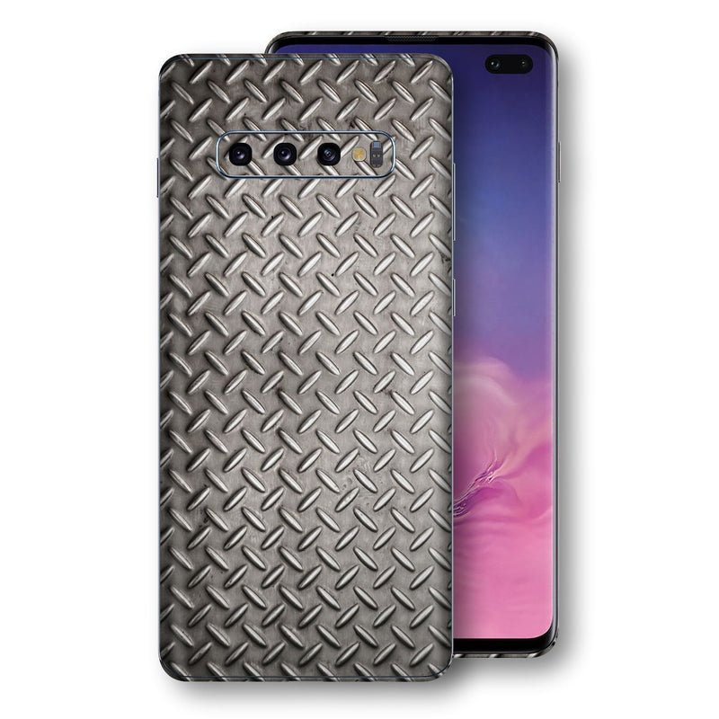 Samsung Galaxy S10+ PLUS Print Custom Signature Diamond Steel Floor Plate Skin Wrap Decal by EasySkinz