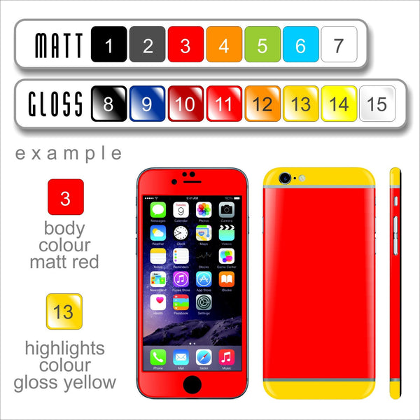Build your own TWO TONE Matt and Glossy iPhone 6S COLORFUL Skin Wrap Sticker Cover Decal Protector by EasySkinz