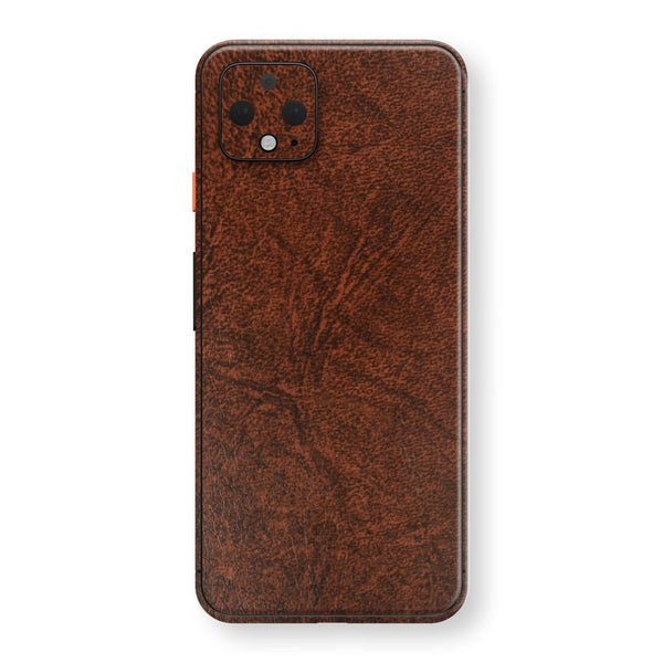 Google Pixel 4 BROWN Leather Skin Wrap Decal Protector | EasySkinz