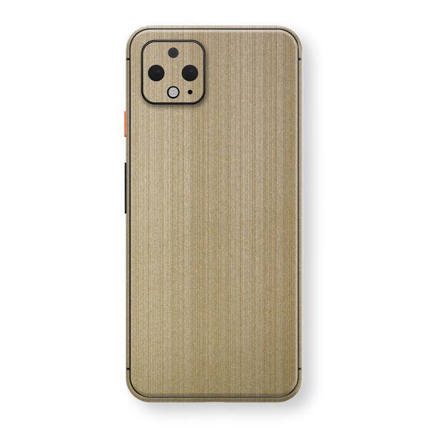 Google Pixel 4 Premium Brushed Champagne Gold Metallic Metal Skin, Decal, Wrap, Protector, Cover by EasySkinz | EasySkinz.com