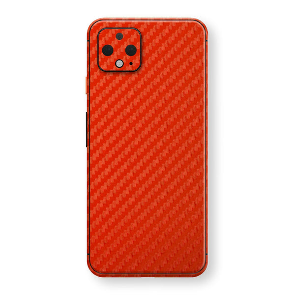 Google Pixel 4 3D Textured Red Carbon Fibre Fiber Skin, Decal, Wrap, Protector, Cover by EasySkinz | EasySkinz.com