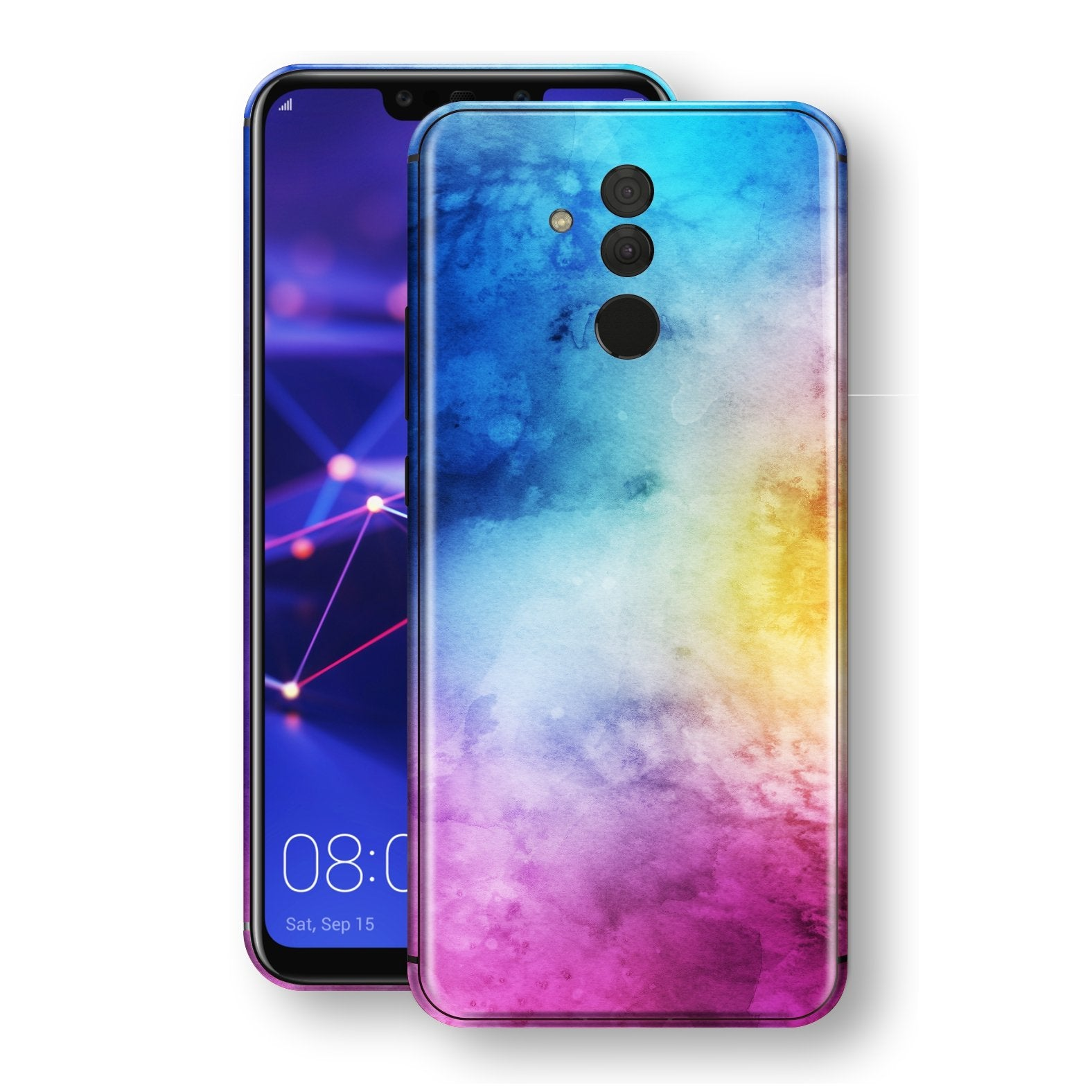 Huawei MATE 20 LITE Signature Abstract Watercolour Purple Blue Skin Wrap Decal Protector | EasySkinz