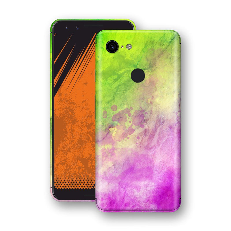 Google Pixel 3 Print Custom Signature Abstract Watercolour Pink Green 12 Skin Wrap Decal by EasySkinz - Design 12