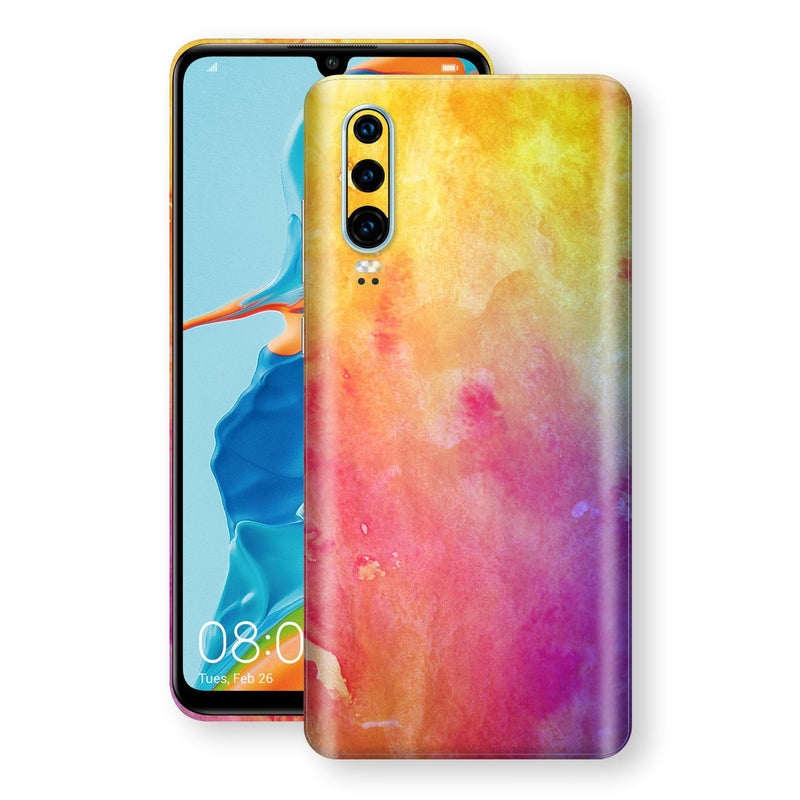 Huawei P30 Print Custom Signature Watercolour Yellow Purple Red Skin Wrap Decal by EasySkinz