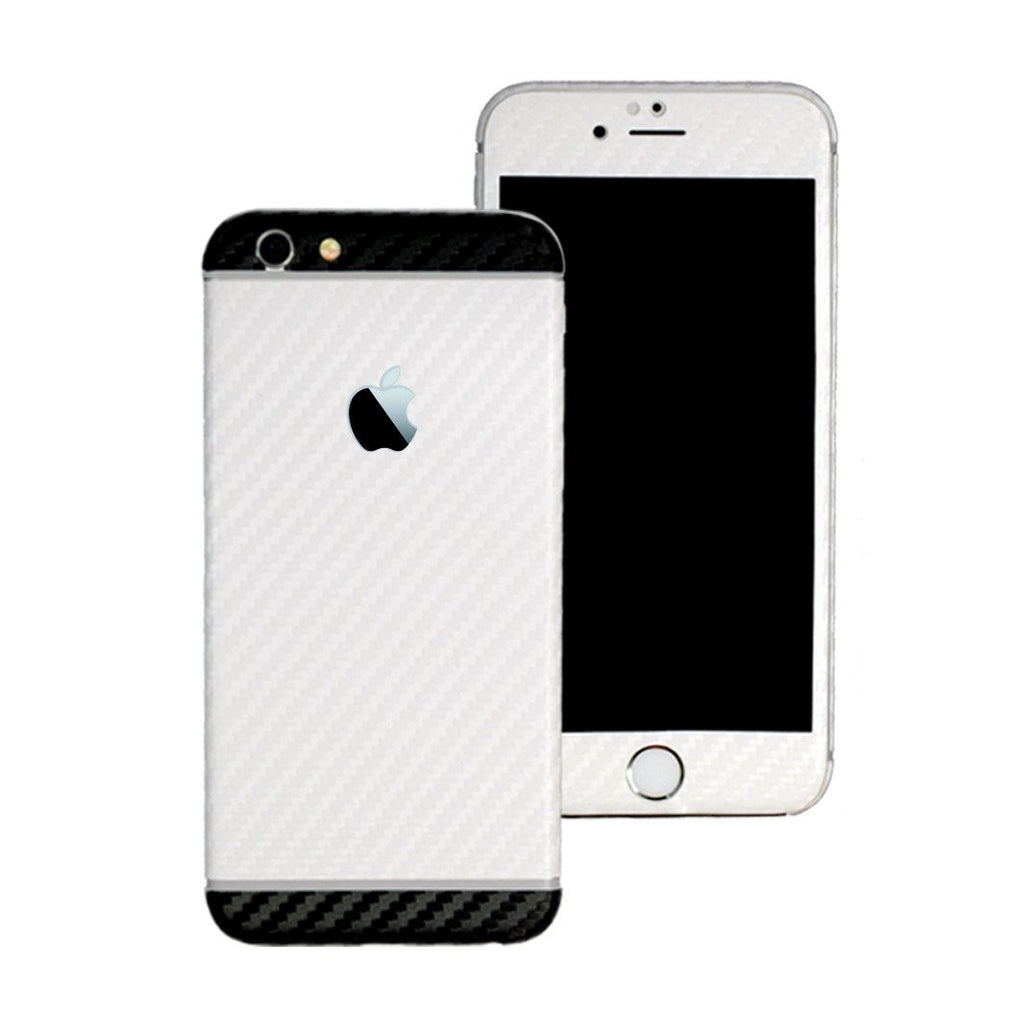 iPhone 6S PLUS Two Tone White and Black CARBON Fibre Skin Wrap Sticker Decal Cover Protector by EasySkinz