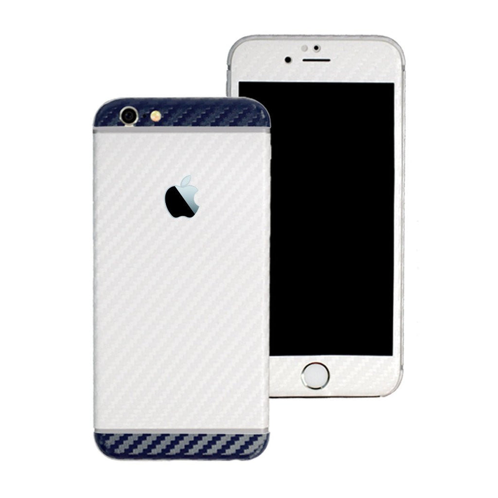 iPhone 6 Two Tone White and Navy Blue CARBON Fibre Skin Wrap Sticker Decal Cover Protector by EasySkinz