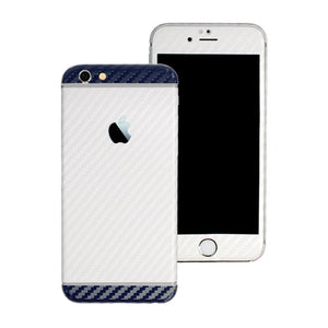 iPhone 6 Plus Two Tone White and Navy Blue CARBON Fibre Skin Wrap Sticker Decal Cover Protector by EasySkinz