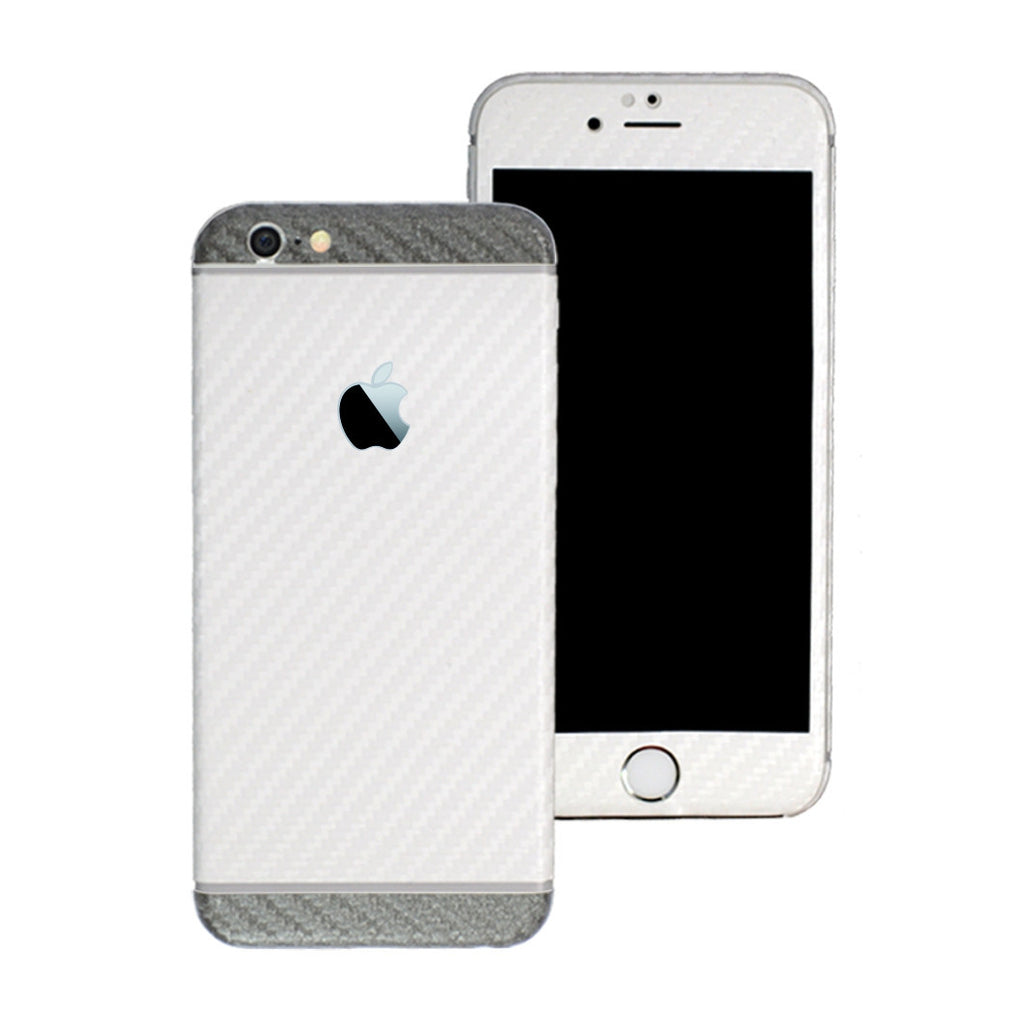 iPhone 6S PLUS Two Tone White and Metallic Grey CARBON Fibre Skin Wrap Sticker Decal Cover Protector by EasySkinz