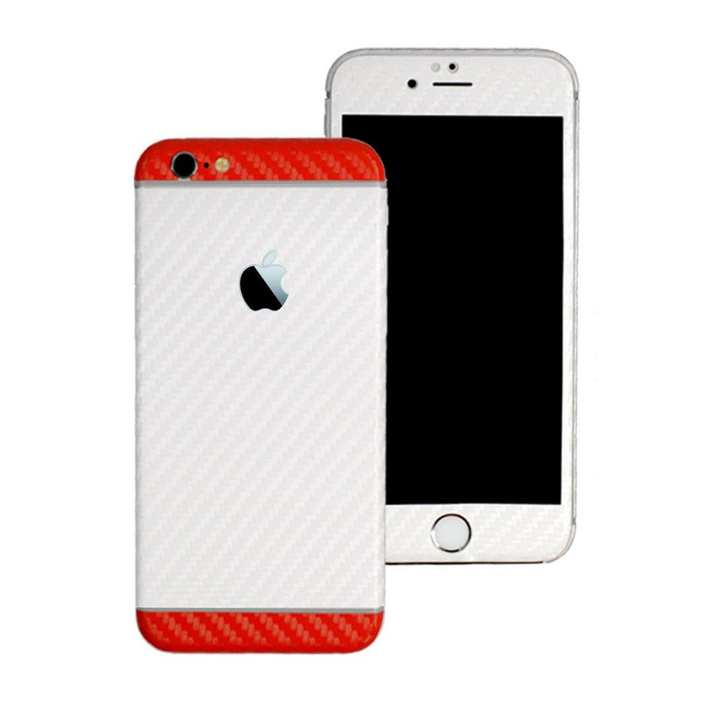 iPhone 6S PLUS Two Tone White and Red CARBON Fibre Skin Wrap Sticker Decal Cover Protector by EasySkinz