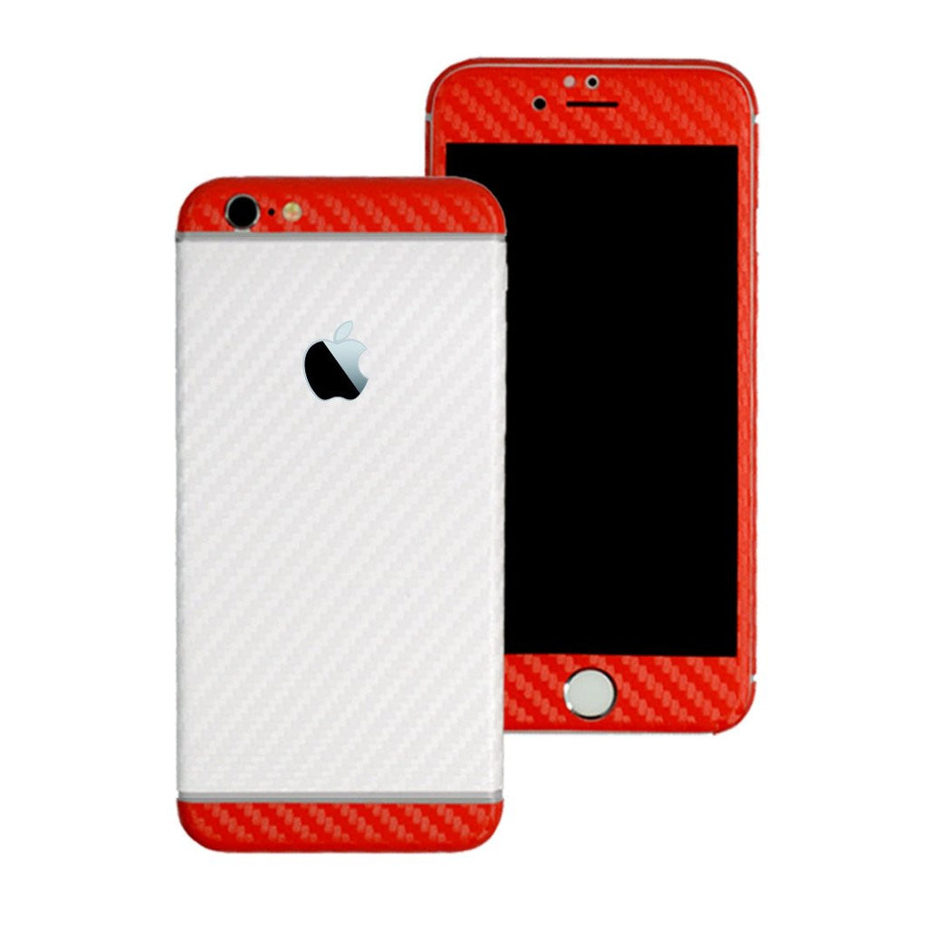 iPhone 6S PLUS Two Tone White and Double Red CARBON Fibre Skin Wrap Sticker Decal Cover Protector by EasySkinz