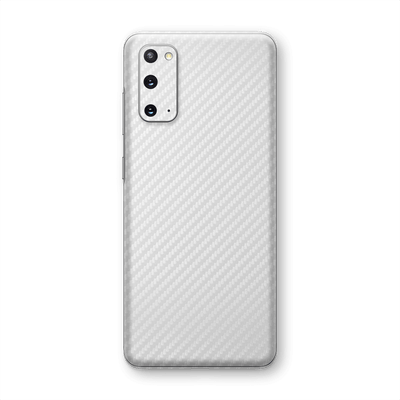 Samsung Galaxy S20 3D Textured White Carbon Fibre Fiber Skin Wrap Sticker Decal Cover Protector by EasySkinz