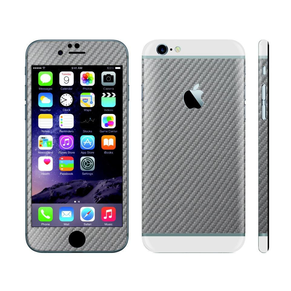 iPhone 6 Plus Metallic Grey Carbon Fibre Skin with White Matt Highlights Cover Decal Wrap Protector Sticker by EasySkinz