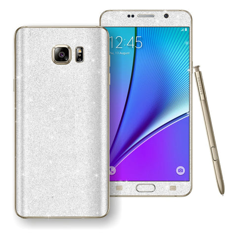Samsung Galaxy Note 5 Diamond Glitter Shimmering WHITE Skin Wrap Decal Sticker Protector Cover by EasySkinz