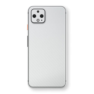 Google Pixel 4 XL 3D Textured White Carbon Fibre Fiber Skin, Decal, Wrap, Protector, Cover by EasySkinz | EasySkinz.com
