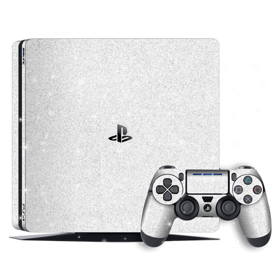 Playstation 4 SLIM PS4 Slim Diamond Glitter Shimmering White Skin Wrap Decal by EasySkinz
