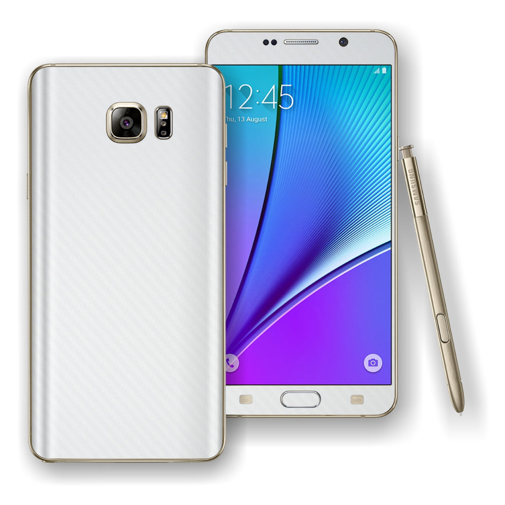 Samsung Galaxy NOTE 5 White 3D Textured CARBON Fibre Skin Wrap Decal Cover Protector by EasySkinz
