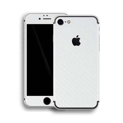 iPhone 7 White 3D Textured CARBON Fibre Fiber Skin, Wrap, Decal, Protector, Cover by EasySkinz | EasySkinz.com