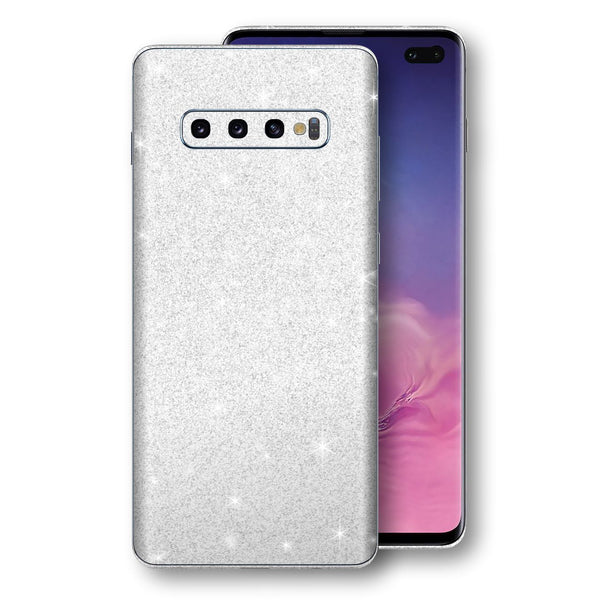 Samsung Galaxy S10+ PLUS Diamond White Shimmering, Sparkling, Glitter Skin, Decal, Wrap, Protector, Cover by EasySkinz | EasySkinz.com