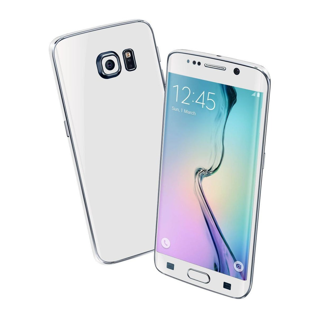 Samsung Galaxy S6 EDGE Colorful GLOSS GLOSSY WHITE Skin Wrap Sticker Cover Protector Decal by EasySkinz