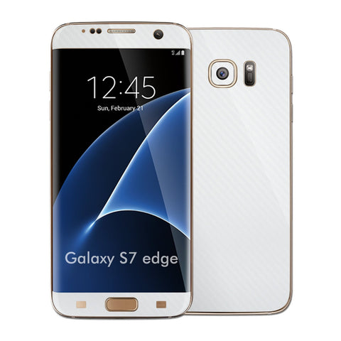 Samsung Galaxy S7 EDGE WHITE 3D Carbon Fibre Fiber Skin Wrap Decal Sticker Cover Protector by EasySkinz