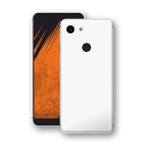 Google Pixel 3a White Glossy Gloss Finish Skin, Decal, Wrap, Protector, Cover by EasySkinz | EasySkinz.com