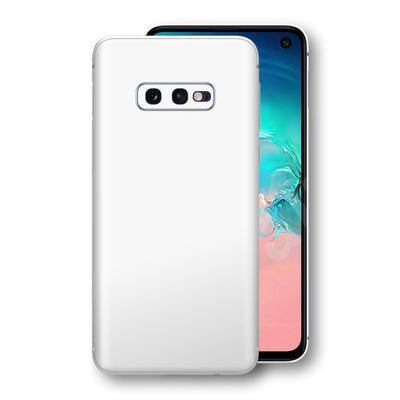 Samsung Galaxy S10e White Glossy Gloss Finish Skin, Decal, Wrap, Protector, Cover by EasySkinz | EasySkinz.com